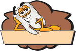 Clip Art Graphic of a Human Molar Tooth Character Reclining Over a Tan Label