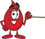Clip Art Graphic of a Transfusion Blood Droplet Mascot Cartoon Character Holding a Pointer Stick