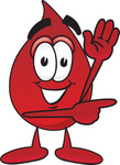 Clip Art Graphic of a Transfusion Blood Droplet Mascot Cartoon Character Waving and Pointing