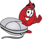 Clip Art Graphic of a Transfusion Blood Droplet Mascot Cartoon Character With a Computer Mouse