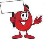 Clip Art Graphic of a Transfusion Blood Droplet Mascot Cartoon Character Holding a Blank Sign