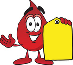 Clip Art Graphic of a Transfusion Blood Droplet Mascot Cartoon Character Holding a Yellow Sales Price Tag