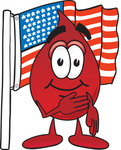 Clip Art Graphic of a Transfusion Blood Droplet Mascot Cartoon Character Pledging Allegiance to an American Flag