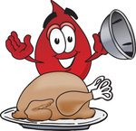Clip Art Graphic of a Transfusion Blood Droplet Mascot Cartoon Character Serving a Thanksgiving Turkey on a Platter