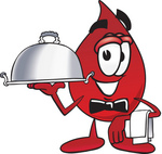 Clip Art Graphic of a Transfusion Blood Droplet Mascot Cartoon Character Dressed as a Waiter and Holding a Serving Platter