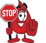 Clip Art Graphic of a Transfusion Blood Droplet Mascot Cartoon Character Holding a Stop Sign