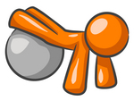 Clip Art Graphic of an Orange Guy Character Doing Pushups With His Legs Propped Up On A Yoga Fitness Ball