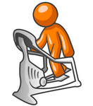 Clip Art Graphic of an Orange Guy Character Working Out On A Stair Climber In A Fitness Gym