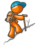 Clip Art Graphic of an Orange Guy Character Wearing A Hat And Backpack, Using A Stick While Hiking