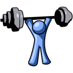 Clip Art Graphic of a Blue Guy Character Holding A Heavy Barbell Above His Head