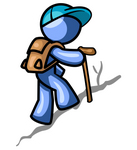 Clip Art Graphic of a Blue Guy Character Hiking