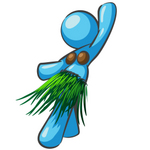 Clip Art Graphic of a Sky Blue Girl Character Doing the Hula Dance