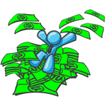 Clip Art Graphic of a Sky Blue Guy Character Jumping in a Pile of Cash