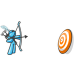 Clip Art Graphic of a Sky Blue Guy Character Shooting Arrows