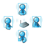 Clip Art Graphic of Sky Blue Guy Characters Having Conversations With Headsets