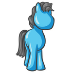 Clip Art Graphic of a Sky Blue Horse With Gray Hair