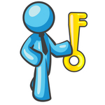 Clip Art Graphic of a Sky Blue Guy Character Standing With a Key