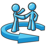 Clip Art Graphic of Sky Blue Guy Characters Shaking Hands in an Arrow