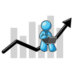 Clip Art Graphic of a Sky Blue Guy Character on a Bar Graph, Using a Notebook Computer