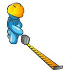 Clip Art Graphic of a Sky Blue Guy Character Measuring