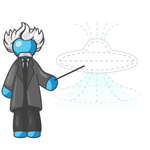 Clip Art Graphic of a Sky Blue Guy Character as Einstein Pointing to a UFO