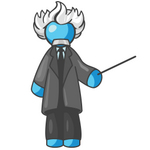 Clip Art Graphic of a Sky Blue Guy Character as Einstein