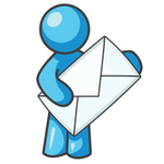 Clip Art Graphic of a Sky Blue Guy Character Holding an Envelope