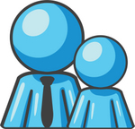 Clip Art Graphic of a Sky Blue Guy Character With Child