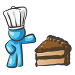 Clip Art Graphic of a Sky Blue Guy Character Chef With Chocolate Cake