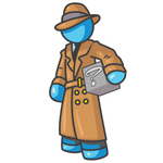 Clip Art Graphic of a Sky Blue Guy Character Investigator Carrying a Box