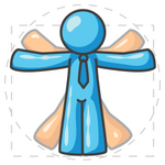Clip Art Graphic of a Sky Blue Guy Character Vitruvian Man