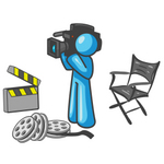 Clip Art Graphic of a Sky Blue Guy Character Filming a Movie