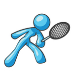 Clip Art Graphic of a Sky Blue Lady Character Playing Tennis