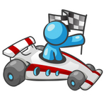 Clip Art Graphic of a Sky Blue Guy Character Racing a Car