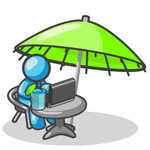 Clip Art Graphic of a Sky Blue Guy Character Working Under an Umbrella