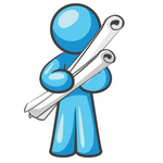 Clip Art Graphic of a Sky Blue Guy Character Holding Scrolled Blueprints