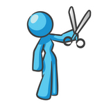 Clip Art Graphic of a Sky Blue Guy Character Holding Scissors