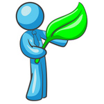 Clip Art Graphic of a Sky Blue Guy Character Holding a Leaf