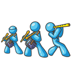 Clip Art Graphic of Sky Blue Guy Characters in a Band