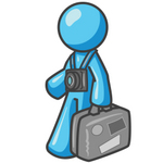 Clip Art Graphic of a Sky Blue Guy Character Tourist