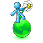 Clip Art Graphic of a Sky Blue Guy Character Holding a Daisy on a Globe