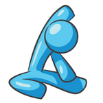 Clip Art Graphic of a Sky Blue Guy Character Stretching and Doing Yoga