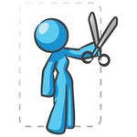 Clip Art Graphic of a Sky Blue Lady Character Cutting a Coupon