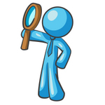 Clip Art Graphic of a Sky Blue Guy Character Holding up a Magnifying Glass