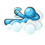 Clip Art Graphic of a Sky Blue Guy Character Drinking on a Cloud