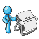 Clip Art Graphic of a Sky Blue Guy Character With an Index Card File