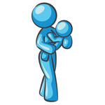 Clip Art Graphic of a Sky Blue Lady Character With a Baby