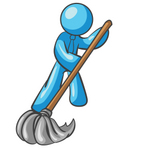 Clip Art Graphic of a Sky Blue Guy Character Mopping