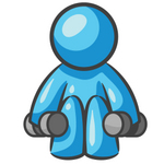 Clip Art Graphic of a Sky Blue Guy Character Lifting Weights
