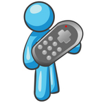 Clip Art Graphic of a Sky Blue Guy Character Holding a Remote Control